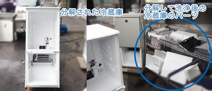 洗浄中の冷蔵庫